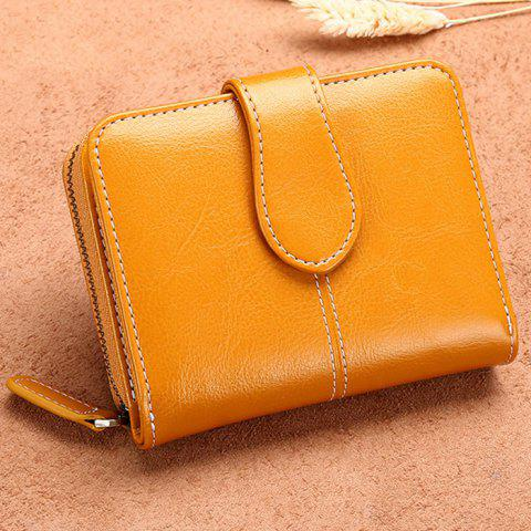 SENDEFN 5150 Ladies Coin Purse Short Korean Version of The Leather Cute Multi-function Leather Two Fold Wallet - SUN YELLOW