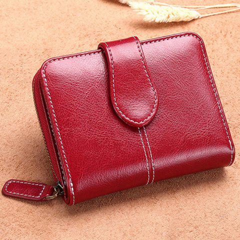 SENDEFN 5150 Ladies Coin Purse Short Korean Version of The Leather Cute Multi-function Leather Two Fold Wallet - RED WINE