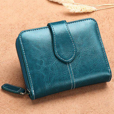 SENDEFN 5150 Ladies Coin Purse Short Korean Version of The Leather Cute Multi-function Leather Two Fold Wallet - PEACOCK BLUE