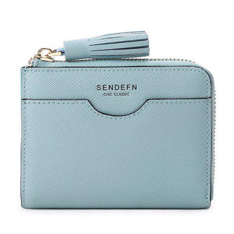 SENDEFN5167 Fashion Small Purse Cute Mini Short Leather Zipper Ladies Wallet - BABY BLUE