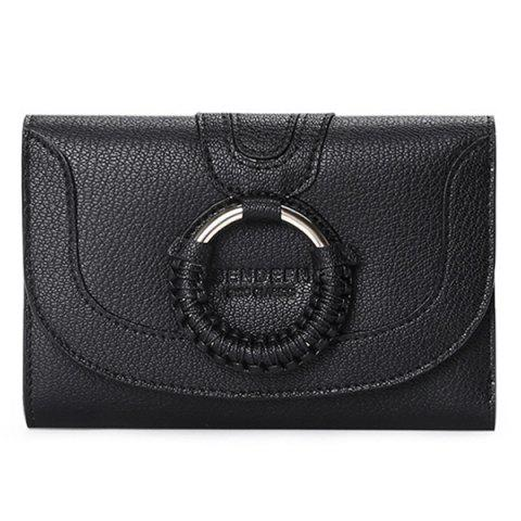 SENDEFN5172 Female Korean Version Personality Woven Leather Short Purse Cute Tide Wallet - BLACK