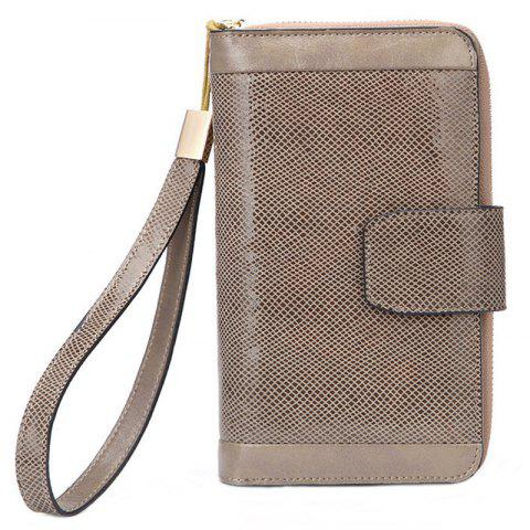 Ladies' Long Leather Wallet Money Bag Case - CHAMPAGNE GOLD