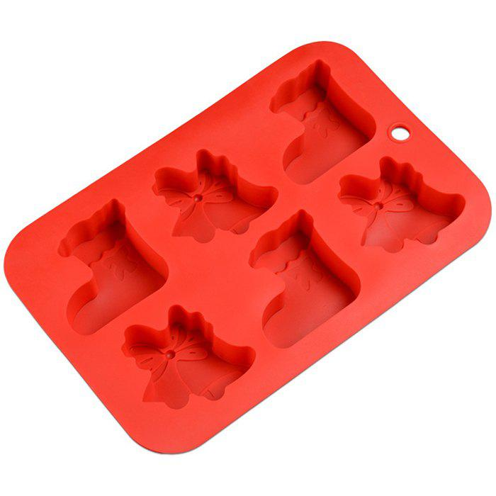 6 Even Christmas Cake Mold Silicone DIY Baking Tool - RED
