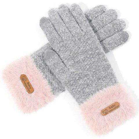 Ladies Winter Outdoor Knit Wool Touch Screen Gloves - LIGHT GRAY