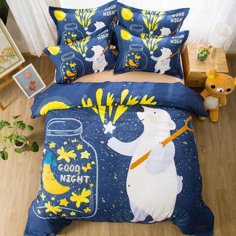 Cute Fashionable Dog Head Quilt Cover Sheet Pillowcase 3-piece Cotton Bedding Set 1.2m - multicolor A