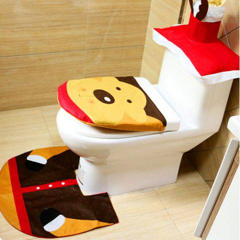 Christmas Decoration Toilet Mat 3pcs - ORANGE GOLD