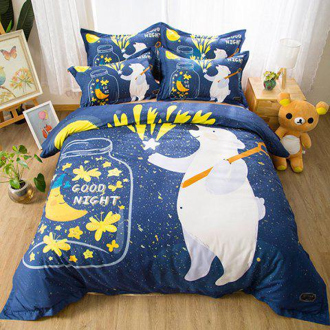 Cartoon Dream Bear Cotton Printed Quilt Cover Sheet Pillowcase 4-piece Bedding Set 1.5m - multicolor A
