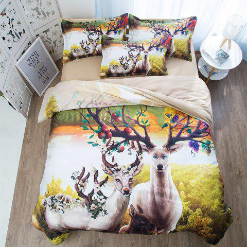 Cartoon Nature Landscape Fashion Color Double Sanding Bedding 3pcs - multicolor B