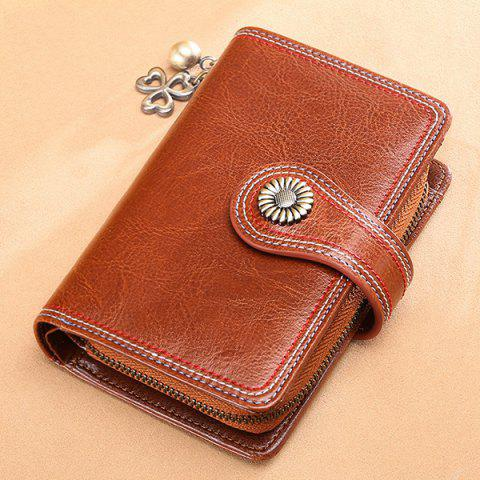 SENDEFN 5194 Female Short Section Leather Korean Student Personality Wallet Ladies Small Purse - LIGHT BROWN