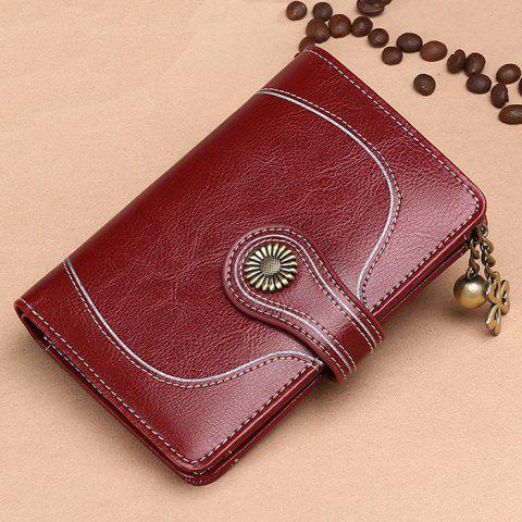 SENDEFN 5181 Short Section Leather Women Wallet Tri-fold Folding Coin Purse - RED WINE