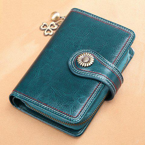 SENDEFN 5194 Female Short Section Leather Korean Student Personality Wallet Ladies Small Purse - PEACOCK BLUE