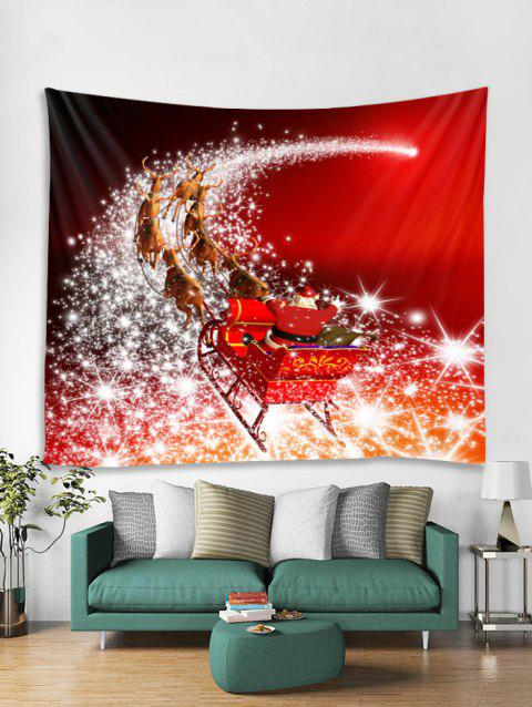 Father Christmas Deer Print Tapestry Art Decoration - RED W79 X L71 INCH