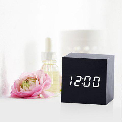 Mirror Wood Multi-function Voice Control Mute Temperature Calendar Display LED Electronic Clock - BLACK WHITE WORD