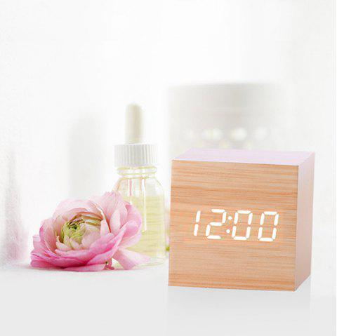 Mirror Wood Multi-function Voice Control Mute Temperature Calendar Display LED Electronic Clock - BURLYWOOD WHITE WORD