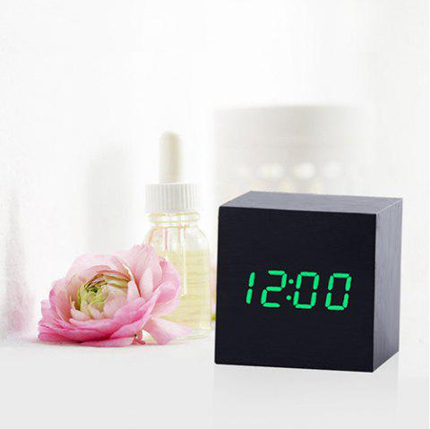 Mirror Wood Multi-function Voice Control Mute Temperature Calendar Display LED Electronic Clock - BLACK GREEN WORD