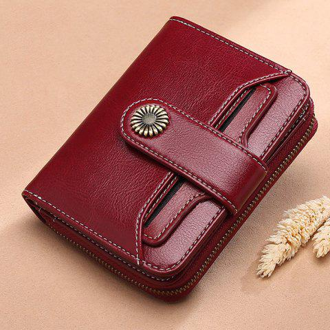 SENDEFN Women Short Multi-function Mini Student Wallet - RED WINE