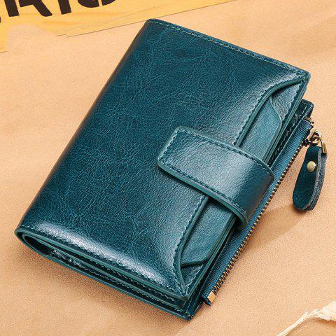 SENDEFN Women Short Multi-function Wallet Money Bag Case - PEACOCK BLUE