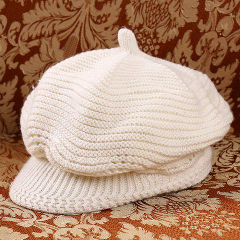 Fashion Knit Beret - WARM WHITE