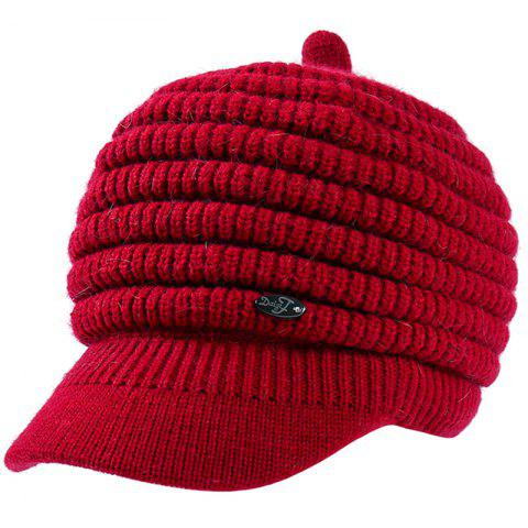 Female Solid Color Knitted Wool Peaked Cap - RED