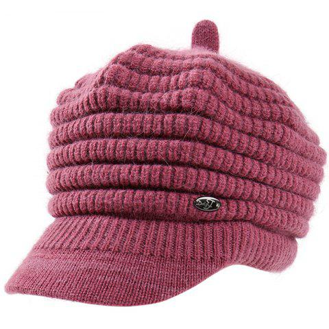 Female Solid Color Knitted Wool Peaked Cap - PURPLE