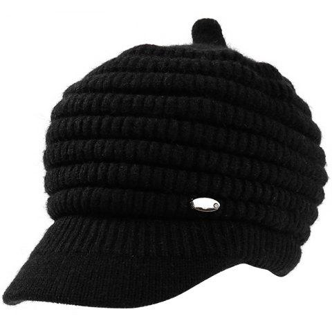 Female Solid Color Knitted Wool Peaked Cap - BLACK