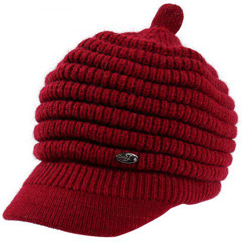 Female Solid Color Knitted Wool Peaked Cap - RED WINE