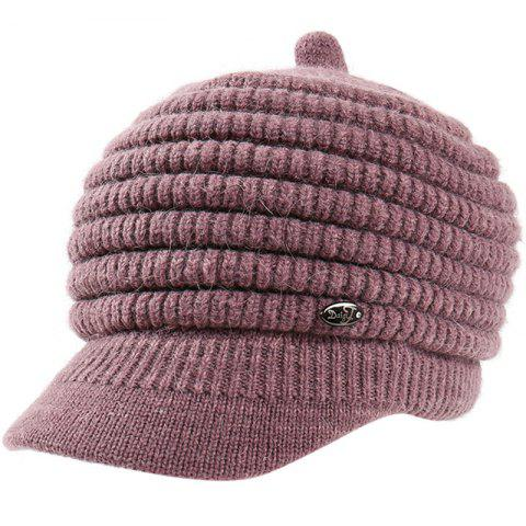 Female Solid Color Knitted Wool Peaked Cap - MAUVE