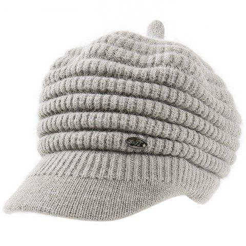 Female Solid Color Knitted Wool Peaked Cap - GRAY
