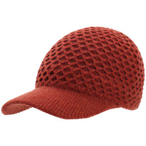 Fashion Mesh Wool Cap - CHESTNUT RED