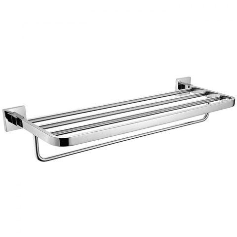 BATHINF 51301 Silver Glossy Series 304 Stainless Steel Bathroom Double-layer Single-bar Towel Rack - SILVER