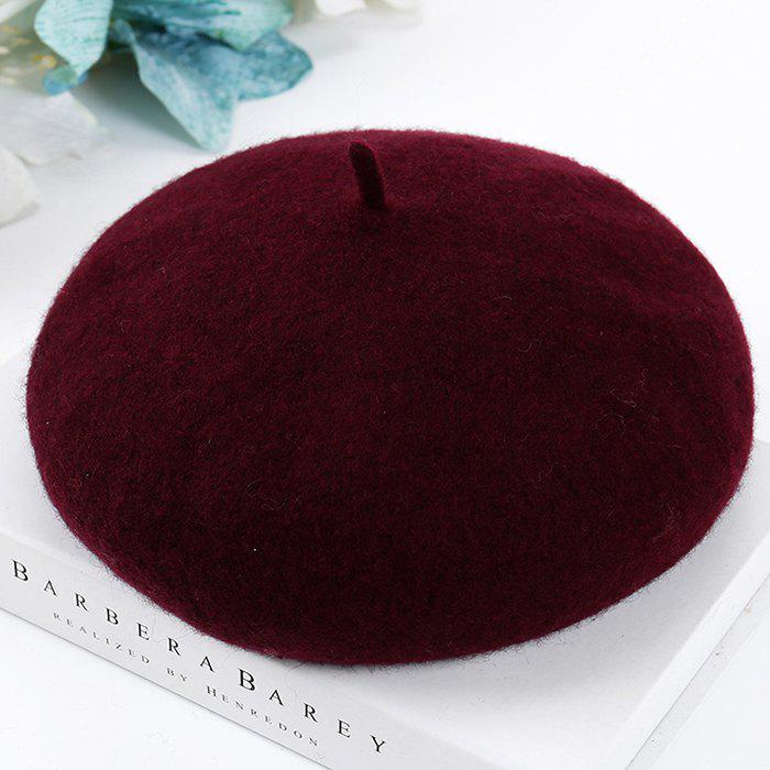 Women Woolen Beret - RED WINE