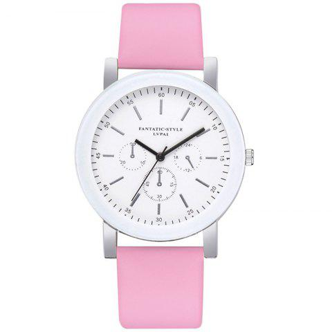 Lvpai P674 Fashion Three-eye Casual Candy Color Belt Student Watch - PINK