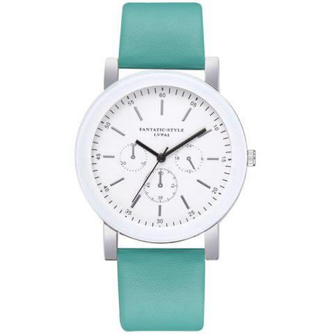 Lvpai P674 Fashion Three-eye Casual Candy Color Belt Student Watch - MINT GREEN
