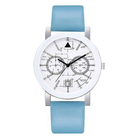 Lvpai P670 College Wind Two-eye Five-pin Quartz Strap Digital Art Student Belt Watch - SKY BLUE