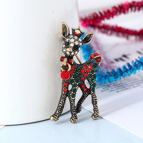 Creative Bell Deer Cane Christmas Tree Pentagram Snowman Brooch - multicolor A