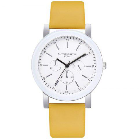 Lvpai P674 Fashion Three-eye Casual Candy Color Belt Student Watch - YELLOW