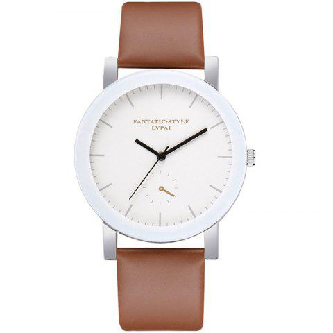 Lvpai P675 Fashion Simple Casual Student Monocular Quartz Watch - BROWN