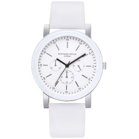 Lvpai P674 Fashion Three-eye Casual Candy Color Belt Student Watch - WHITE