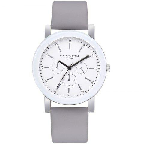 Lvpai P674 Fashion Three-eye Casual Candy Color Belt Student Watch - GRAY