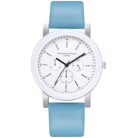 Lvpai P674 Fashion Three-eye Casual Candy Color Belt Student Watch - SKY BLUE