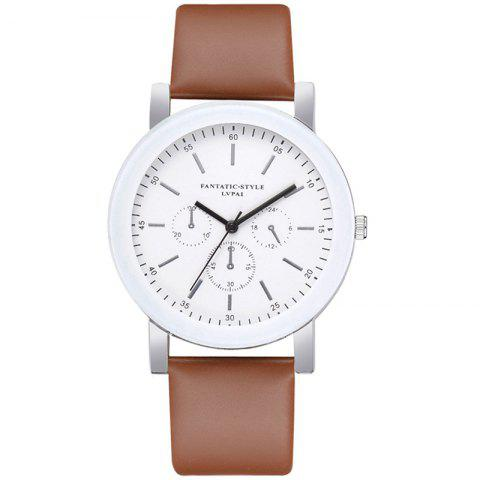 Lvpai P674 Fashion Three-eye Casual Candy Color Belt Student Watch - BROWN