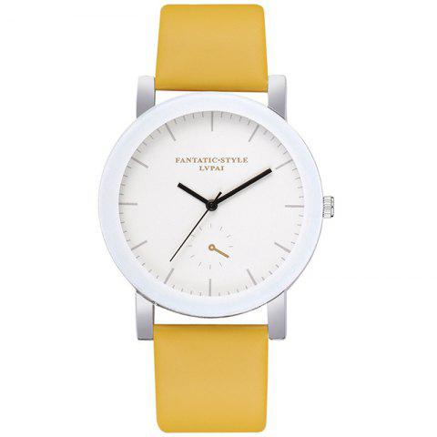 Lvpai P675 Montre simple à quartz monoculaire pour étudiants occasionnels - Jaune