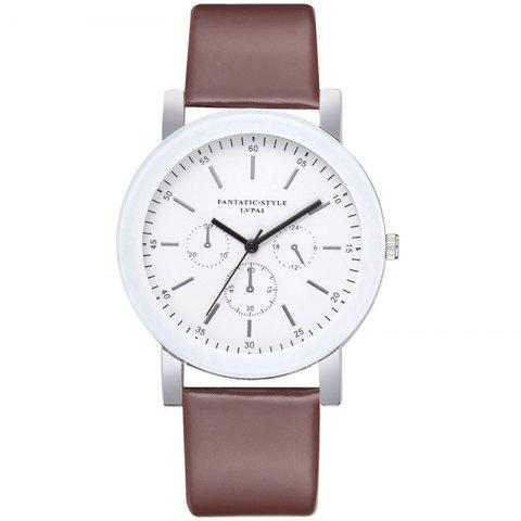 Lvpai P674 Fashion Three-eye Casual Candy Color Belt Student Watch - COFFEE