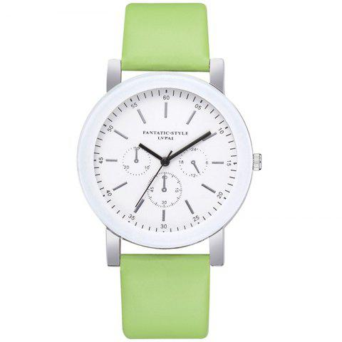 Lvpai P674 Fashion Three-eye Casual Candy Color Belt Student Watch - GREEN