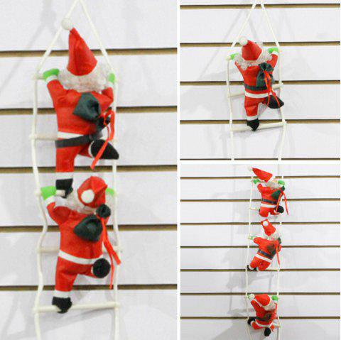 7 - ZZLJ7383 - I47.3.06 Red Sling Christmas Decoration Polyester Ornaments Santa Claus Climbing Rope Ladder - RED
