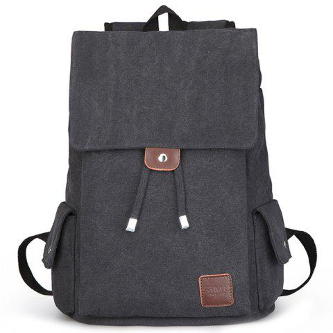 Canvas Student Travel Simple Backpack - BLACK