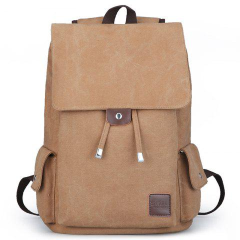 Canvas Student Travel Simple Backpack - BROWN SUGAR