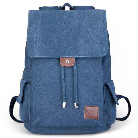Canvas Student Travel Simple Backpack - SILK BLUE