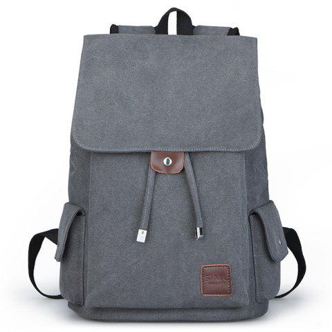 Canvas Student Travel Simple Backpack - LIGHT SLATE GRAY
