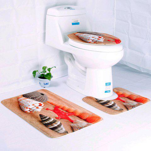 Ocean Dolphin Underwater World Toilet Mat Set 3pcs - multicolor A CONCH STARFISH